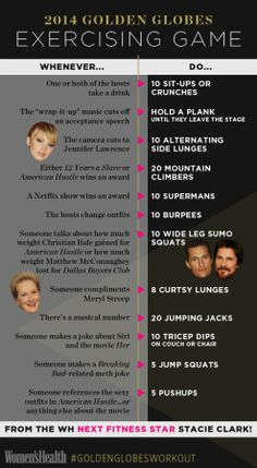 Why play a drinking game when you could get a #GoldenGlobesWorkout? Follow these rules to get fit while you watch the awards! http://www.womenshealthmag.com/fitness/fitness-games?cm_mmc=Pinterest-_-womenshealth-_-content-fitness-_-goldenglobesexercisegame