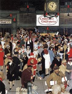 """Vintage Illustrations """"Union Train Station, Chicago, Christmas"""" Saturday Evening Post Cover, December by Norman Rockwell - Norman Rockwell Prints, Norman Rockwell Paintings, Union Station Chicago, The Saturdays, Norman Rockwell Christmas, Chicago Christmas, Illustrations Vintage, Illustration Art, Creation Photo"""