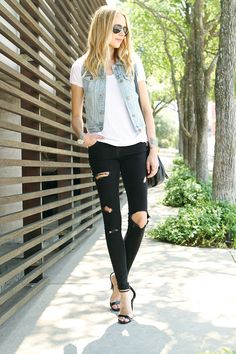 casual-look-denim-vest como usar colete jeans must have 1
