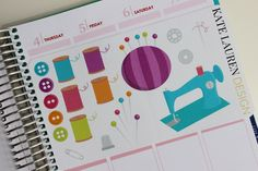Sewing Stickers for Erin Condren Life Planner Happy Planner Filofax kikki.K Plum Paper Planner Stickers