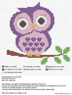 Fantastic Free Cross Stitch owl Ideas Given that I have already been crossstitching stitches given that I'd been a girl I in some cases suppose t Cross Stitch Owl, Cross Stitch Animals, Cross Stitch Charts, Cross Stitch Designs, Cross Stitching, Cross Stitch Embroidery, Embroidery Patterns, Cross Stitch Patterns, Owl Patterns