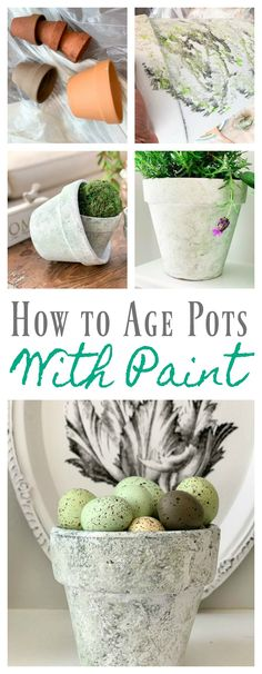 How to Age Terracotta Pots with Paint - 2 Bees in a Pod Paint simple terra-cotta pots so that they look old and weathered. #paintedpots #howtopaintpots #diypaintedpots #gardencontainers #howtopaintpotstolookold #weatheredfinish