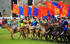 "Nadaam celebrations in Ulaanbaatar. This festival, the ""Mongolian Olympics"" is hosted every year from July 11-13. Competition includes archery, wrestling and horse riding"