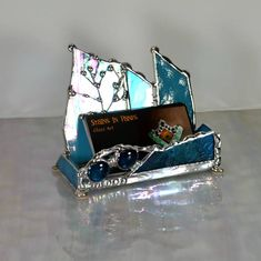 Decorative business card holder reused items artsy fartsy business card holder tree customization stylish office office desk decor office design stained glass graduation gift buiness colourmoves