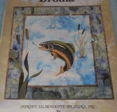 """Fisherman's Dream Applique Quilt pattern Trout Lake Fish Fishing 25"""" by 29"""" #SunsetSilhouetteDesigns"""