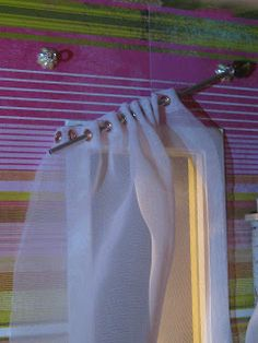 large and in charge: Tutorial: Curtain rods with interchangeable finials Rustic Curtain Rods, Industrial Curtain Rod, Diy Curtain Rods, Curtain Finials, Miniture Dollhouse, Diy Dollhouse, Miniature Rooms, Victorian Dollhouse, How To Make Curtains