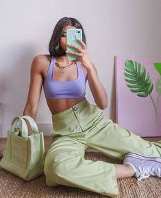 Lila Outfits, Indie Outfits, Retro Outfits, Trendy Outfits, Vintage Outfits, Fashion Outfits, Best Outfits, Green Outfits For Women, Fashion Tips