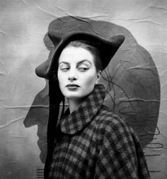 Capucine wearing a hat by Dior. Photographed by Richard Avedon in Paris, 1949.