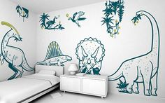 Dinosaur Kids Room Wall Decals - 8 Large Dinosaur Boys Wall Stickers, Jurassic World Wall Decor, Diplodocus, Triceratops Boys Wall Stickers, Wall Decals For Bedroom, Kids Wall Decals, Bedroom Stickers, Dinosaur Kids Room, Boys Dinosaur Bedroom, Dino Kids, Dinosaur Train, Dinosaur Wall Decals