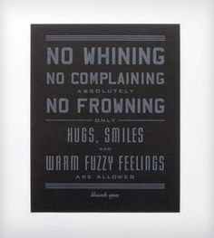 """want!! -- No Whining Letterpress Art Print - 8"""" x 10"""""""