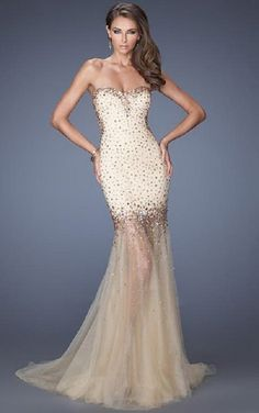 Champagne Sweep Train Mermaid Strapless Bridesmaid Dress