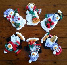 Bucilla Navidad cubiertos porta Set de 6  terminado