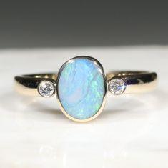 Natural Australian Boulder Opal and Diamond Gold Ring  - Size 7 Code - RL38 10k Gold Ring, Gold Diamond Rings, Gemstone Rings, Silver Rings, Natural Opal, Natural Diamonds, Gold Ring Designs, Opal Color, Green Opal