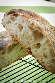 "Very tasty and easy to make bread that the author claims, a six year old can make. The bread has a chewy crumb, with large holes,  and a thick crunchy crust. This is the best bread that I have ever made and is a lot like the bread I buy sometimes in the ""artisan"" section..."