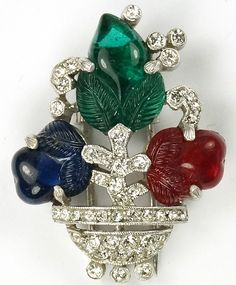 Trifari 'Alfred Philippe' Tricolour Fruit Salad Flower Vase Pin Clip
