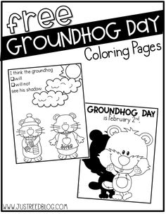 These FREE Groundhog Day coloring pages are perfect for February Preschool Groundhog, Groundhog Day Activities, Holiday Activities, Kindergarten Activities, Classroom Activities, Kindergarten Posters, Preschool Printables, Preschool Ideas, Preschool Science