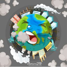 Air pollution is turning Mother Nature prematurely gray. World Pollution Day, Poster On Pollution, Art Environnemental, Earth Drawings, Earth Poster, Environmental Pollution, Pollution Environment, Save Our Earth, Poster Drawing