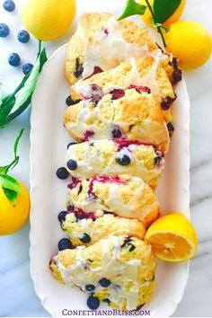 Lemon Blueberry Scones with Vanilla Glaze