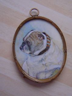 Delightful miniature portrait of an English bulldog, listed artist, early 1900s