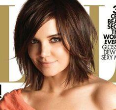 Katie Holmes Choppy Hair Sideswept bangs. IF I were to go short...