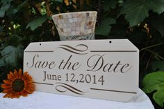 Save the Date Engagement Sign: Elegant Hand Painted & Laser Etched, Handmade Photography Prop
