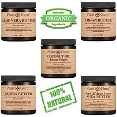 Body Butter VARIETY 5 PACK 4 oz Pure Raw 100 Natural Set Includes Jojoba Aloe Vera Unrefined Shea Argan Extra Virgin Coconut Organic DIY Creams Balms Lotions Soaps Skin Hair Moisturizer * You can find more details by visiting the affiliate link Amazon.com.