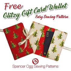 The Glitzy Gift Card Wallet FREE Sewing Pattern An easy to make wallet pattern, . - The Glitzy Gift Card Wallet FREE Sewing Pattern An easy to make wallet pattern, ideal for giving gi - Wallet Sewing Pattern, Sewing Patterns Free, Free Sewing, Sewing Tutorials, Free Pattern, Sewing Projects, Bag Patterns, Sewing Tips, Sewing Box