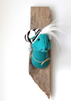 Teal Mouse with beanie hat, handmade fabric trophy. Quirky textile wall art. Upcycled wood. Harris tweed faux taxidermy. by charactersbyjulia on Etsy