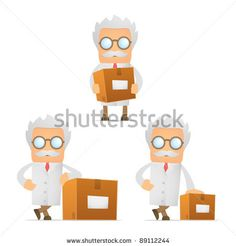 stock vector : set of funny cartoon scientist in various poses for use in presentations, etc.