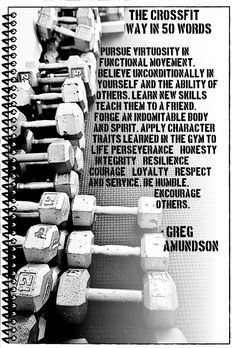 Great quote! I wish some in our gym would focus on the honesty and integrity part of this and quit cheating on reps!