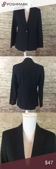 """Calvin Kline Pinstripe Blazer Dark grey pinstripe blazer fully lined • has single button for closure and buttons on the cuffs • 77% polyester 20% rayon 3% spandex • approximate measurements laying flat. Bust 18"""", length 26.6"""", sleeve length 17.75"""" Calvin Klein Jackets & Coats Blazers"""