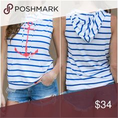 Striped Sleeveless Anchor Hoodie This top comes in blue/white and features a drawstring hood and front pouch. Material is light weight. Tops
