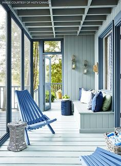 Screen-in porch; especially love the chairs. Designed by Sarah Richardson (via Hooked on Houses).