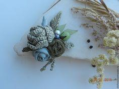 """Купить """"Silence"""" мини-брошь-букетик - оливковый, травы, натуральные материалы, брошь, букет, цветы"""