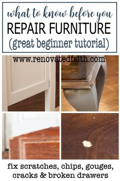 Whether your dog chewed your furniture leg, you have finish scratches on a table or you need to know how to fix a chipped wood corner, this will show you the right products and easy video tutorial for wood furniture repair! Bondo for wood, caulk and wood filler are SO easy to use. Easy tutorial on how to fill large holes in wood furniture or how to fix a missing chunk of wood veneer. Glazing Furniture, Laminate Furniture, Furniture Repair, Furniture Refinishing, Diy Furniture Projects, Furniture Legs, Painting Furniture, Furniture Makeover, Diy Projects