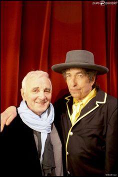Bob Dylan et Charles Aznavour à Paris, le 3 avril 2009.