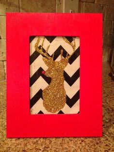 Framed chevron Rudolph Christmas decoration on Etsy, $12.00