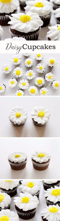 Cool Cupcake Decorating Ideas - Pipe a Buttercream Daisy - Easy Ways To Decorate Cute, Adorable Cupcakes - Quick Recipes and Simple Decorating Tips With Icing, Candy, Chocolate, Buttercream Frosting and Fruit - Best Party and Birthday Party Ideas for Kids and Adults http://diyjoy.com/cupcake-decorating-ideas