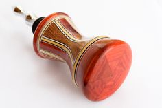 Segmented Bottle Stopper Class: Stopper designed, constructed, and turned by Mark Gisi at Woodcraft, Colorado Springs Woodworking Shop, Woodworking Projects, Segmented Turning, Pen Turning, Wine Bottle Stoppers, Wood Turning Projects, Woodturning, Colorado Springs, Lathe