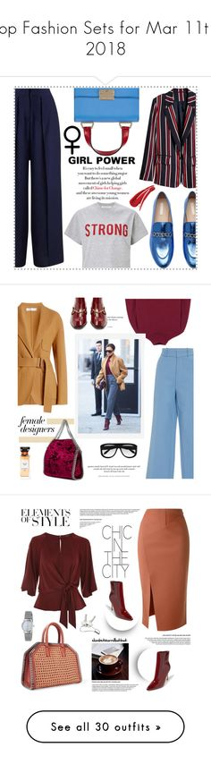 """Top Fashion Sets for Mar 11th, 2018"" by polyvore ❤ liked on Polyvore featuring Emporio Armani, Miss Selfridge, womensHistoryMonth, pressforprogress, GirlPride, WALL, Victoria Beckham, Pottery Barn, H&M and STELLA McCARTNEY"