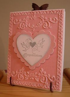 Pink Embossed Wedding Card - My Stamping Addiction: -- Sizzix - Textured Impressions - Embossing Folders - Ornate Frames Set