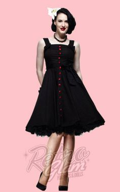 Retro Glam - Hell Bunny Gery Black with Red Polka Dots Dress