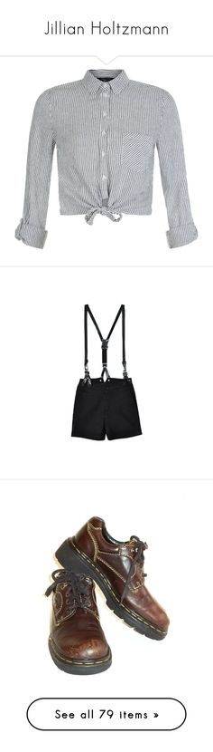 """""""Jillian Holtzmann"""" by unwriteable ❤ liked on Polyvore featuring tops, blouses, shirts, grey, grey blouse, tie front blouse, grey shirt, striped collared shirt, striped blouse and shorts"""