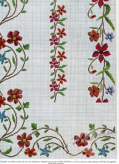 This Pin was discovered by Mar Cross Stitch Borders, Cross Stitch Flowers, Cross Stitch Designs, Cross Stitching, Cross Stitch Embroidery, Hand Embroidery, Cross Stitch Patterns, Embroidery Patterns Free, Loom Beading