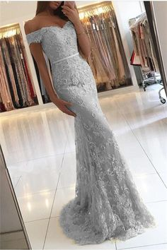 Silver Prom Dress,Lace Prom Dress,Mermaid Evening Dresses Off Shoulder,Elegant Formal Gowns This dress could be custom made, there are no extra cost to do custom size and color.Description1, Material: sequin, tulle,elastic satin .2, Color: picture color or other colors, there are 126 colors are available, please conta#prom #promdress #dress #eveningdress #evening #fashion #love #shopping #art #dress #women #mermaid #SEXY #SexyGirl #PromDresses