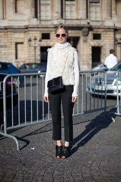 STREET STYLE SPRING 2013: PARIS FASHION WEEK - This take on the fur vest has us sold.