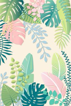 pastel pattern Pastel Jungle Tropical Leaf Pattern Art Print by Marta Olga Klara Plant Wallpaper, Tropical Wallpaper, Cute Wallpaper Backgrounds, Flower Wallpaper, Pattern Wallpaper, Cute Wallpapers, Iphone Wallpaper, Trendy Wallpaper, Flower Illustration Pattern