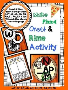 Onset and Rime Pizza Making Center | Clip/ Glue Activity | Over 100 Words!!