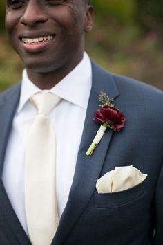 Fall groom boutonniere idea - burgundy ranunculuses boutonniere {Nadra Photography}