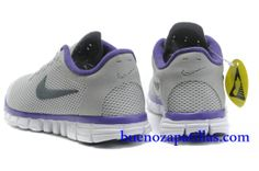 online store 9be35 d9e68 Mujer Nike Free 3.0 V2 Zapatillas (color   vamp - gris , logotipo - negro ,  en el interior - purpura   sole - blanco)